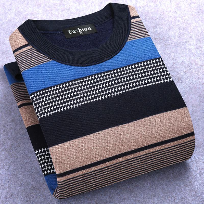 秋冬新款男士加绒毛衣男保暖长袖T恤圆领套头针织衫中老年打底衫
