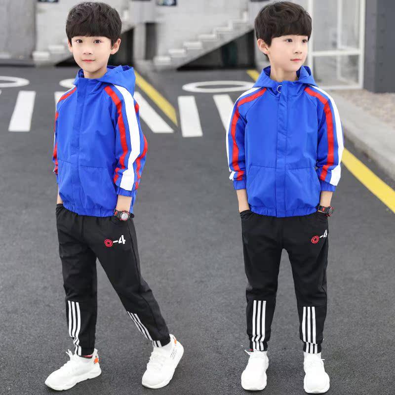 Bé trai 8 phù hợp với mùa xuân và mùa thu trẻ em 9 áo khoác trùm đầu 13 bé trai trung niên nam 12 tuổi 15 bé trai thể thao phù hợp với hai mảnh - Bộ đồ