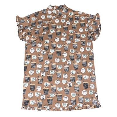 Hành lá Cắt Gốc Tự Chế Cotton Nghi Cốc Cà Phê In T-Shirt Cải Thiện Plated Dinner Gown Dress váy đầm