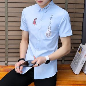 332#新款短袖襯衫男夏 潮流修身個性男短袖休閑百搭款襯衣