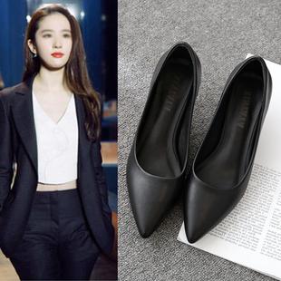 工作鞋女黑色职业面试上班正装尖头高跟鞋细跟粗跟中跟皮鞋女单鞋