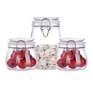 玻璃蜂蜜储物罐茶叶柠檬罐3个