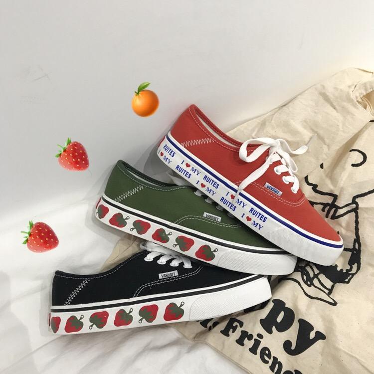小黄桃韩国ulzzang小草莓帆布鞋绿色学生百搭女鞋ins小红书同款鞋