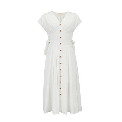 Damostudio mùa hè mới phong cách kỳ nghỉ Pháp   retro v- cổ pleated khóa một bộ eo váy váy cao cấp hàng hiệu Sản phẩm HOT