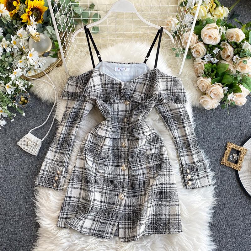 Небольшой ароматный платье женский осенний зима 2019 новый ретро плед грубый твид сердце машинально плечо длинный рукав юбка сын 610946575018