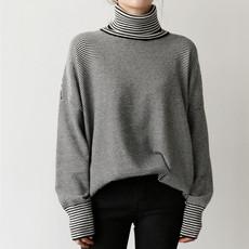 韩国 chic风 高领细条纹宽松慵懒毛衣文艺女套头打底针织衫
