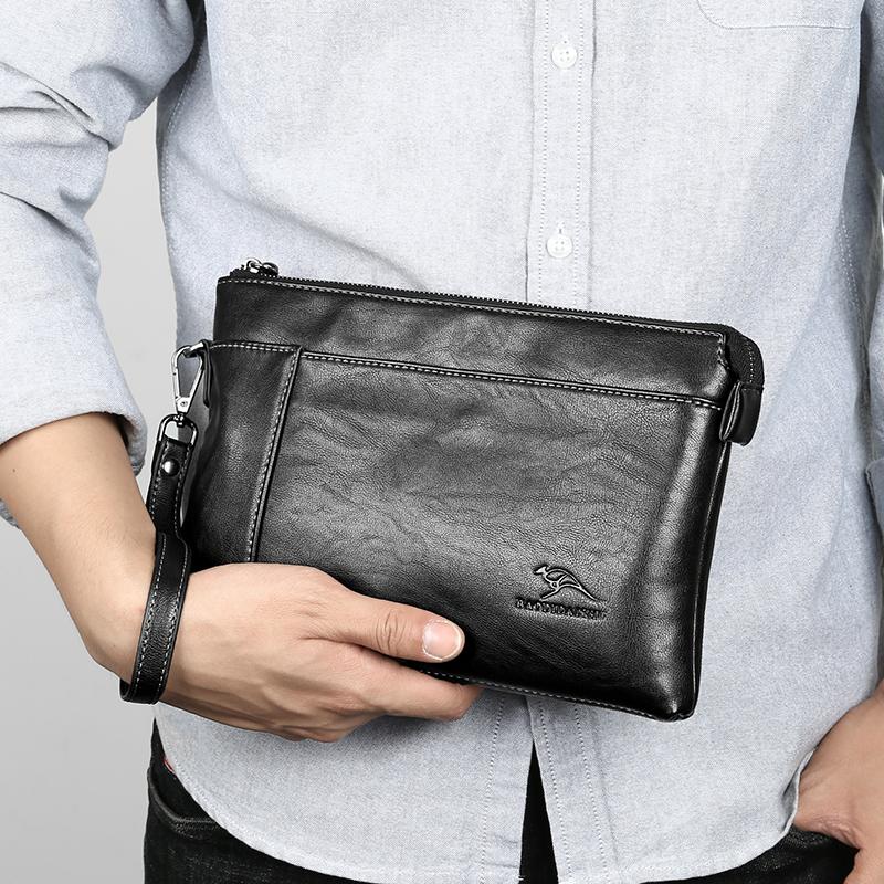 袋鼠真皮男包手包大容量商务手拿软皮包潮