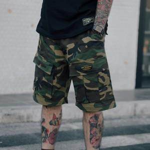 夏季男款純棉迷彩色工裝褲寬松多口袋休閑短褲直筒深大口袋五分褲