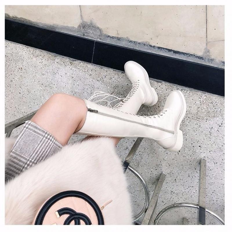 P17长靴女2019秋冬季新款系带高筒靴网红马丁靴显瘦皮靴平底靴子