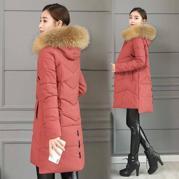 11冬季棉袄女新款大毛领韩版修身中长款棉衣加厚羽绒棉服潮外套