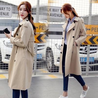 风衣女中长款韩版2019春季新款大码女装休闲时尚修身风衣外套