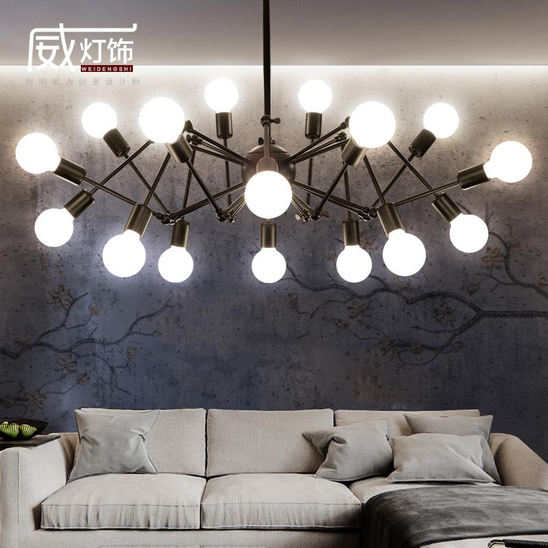 服装店工业风吊灯北欧风铁艺客厅灯具现代简约创意个性复古蜘蛛灯