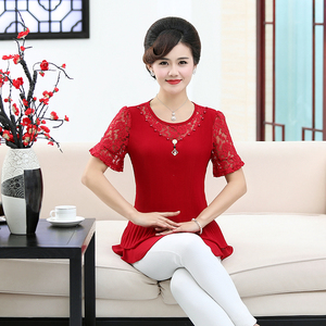 妈妈装夏装雪纺百折圆领衬衫40-50岁中老年女装大码短袖上衣女