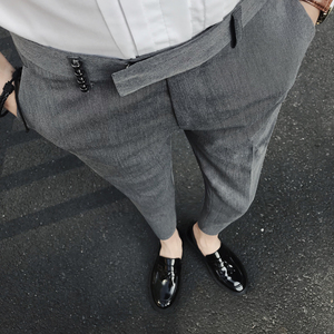 夏季新款英伦潮男夜店发型师修身九分休闲裤西裤GK167P75控90