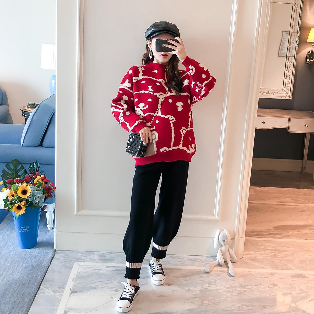 Bộ đồ mùa thu dành cho bà bầu 2020 Thời trang mới dành cho bà bầu Áo sơ mi ngắn tay áo len dệt kim - Áo thai sản
