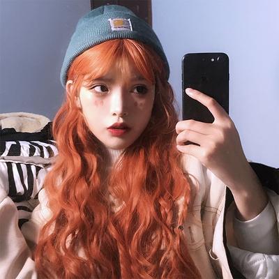 taobao agent Wig female long hair hyuna dirty orange wool roll net red instant noodle head corn hot cute lifelike natural full headgear
