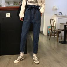 实拍实价新款小视频荷叶边高腰系带松紧腰休闲牛仔裤8704#