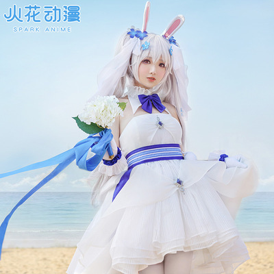 taobao agent Sparks anime blue route cos suit Lafite wedding dress white rabbit and vows cute dress cosply costume female