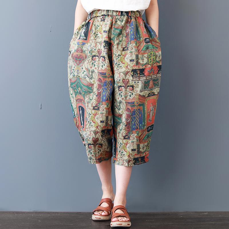 Đồng bằng mùa hè in casual cắt quần rửa quần đàn hồi văn học retro gió quốc gia quần hậu cung lỏng phụ nữ Quần Harem