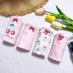 實拍實價 四件套韓版少女小清新可愛貓櫻桃三角褲內褲學生