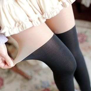 秋冬加绒加厚假高筒袜假透肉连裤打底裤