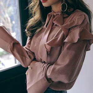 2018春裝新款 時尚立領系帶荷葉邊小清新長袖襯衫9063#