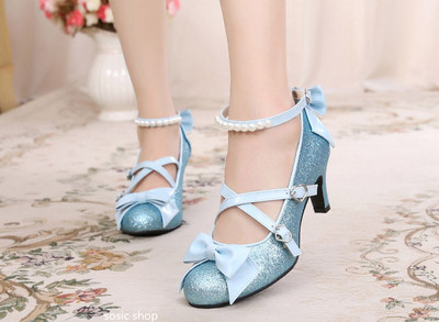 42agent Japanese lolita Lolita stage shiny piece jk cute pearl high thick with cross bow female single shoes - Taobao
