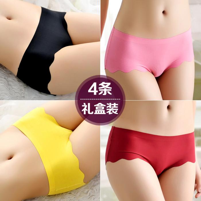 4条装 一片式冰丝无痕纯棉裆内裤女士性感诱惑短