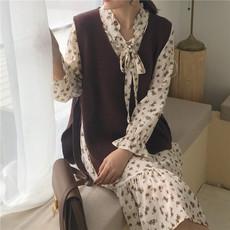 成分~视频~实拍~4073#春装新款韩版系带针织马甲百搭学生毛衣背心