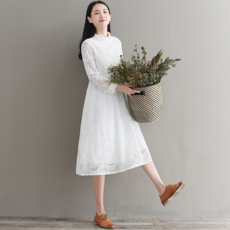 8588实拍现货 2018春季新款 文艺清新蕾丝连衣裙中长款A字裙