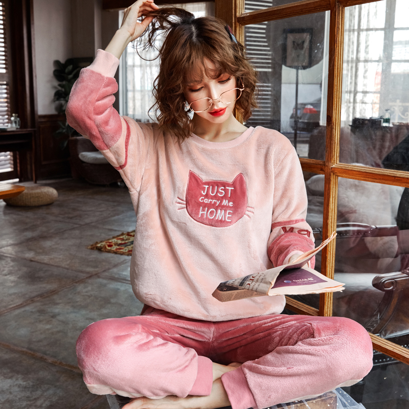 冬季珊瑚绒睡衣女长袖秋冬加厚加绒保暖甜美可爱法兰绒家居服套装