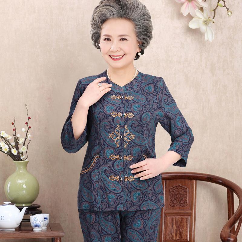 60-70-80 tuổi của phụ nữ mùa hè ăn mặc phần mỏng ông già mùa hè quần áo bà cũ cotton lụa tay áo phù hợp với cardigan
