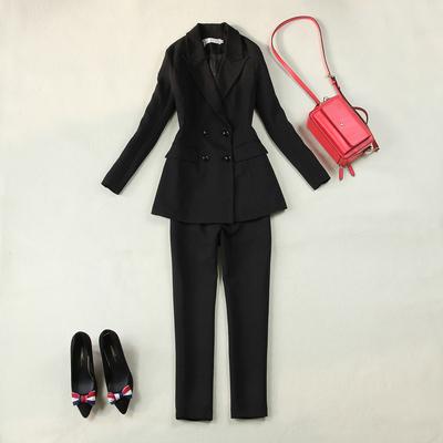 Kích thước lớn của phụ nữ 18 mùa xuân mới rượu vang đỏ Slim đôi ngực dài phù hợp với + 9 điểm thẳng quần phù hợp với phù hợp với Business Suit