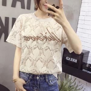 2211# 实拍现货 送裹胸 刺绣字母T恤蕾丝衫系列版爆款
