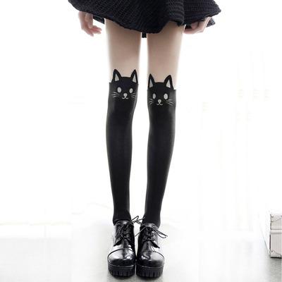 taobao agent Japanese Mori girl cartoon cat print stitching stockings cute student girl COS socks bottoming socks cute female spring