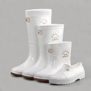 Sao đôi trong mưa khởi động của nam giới trắng thực phẩm vệ sinh khởi động chống trượt dầu-proof chống axit căng tin mưa khởi động nước giày boots cao su khởi động