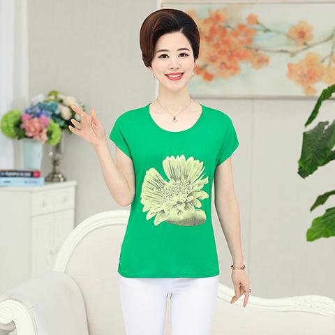 Đặc biệt hàng ngày phụ nữ trung niên của mẹ kích thước lớn mùa hè cotton ngắn tay T-Shirt phương thức bông nữ t-shirt