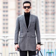 伊万卡索 高档羊毛呢大衣男修身中长款男装呢子大衣秋冬风衣外套 【预售】