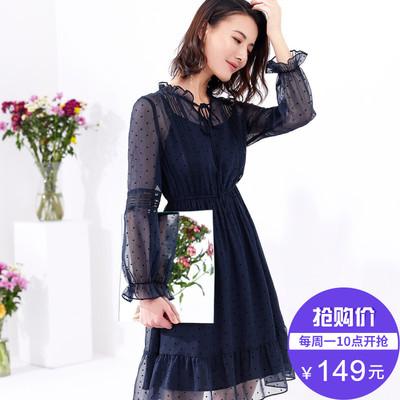 [Giá mới 149 nhân dân tệ] 2018 mùa xuân và mùa hè mới nữ eo một từ váy với quan điểm rỗng đầm voan