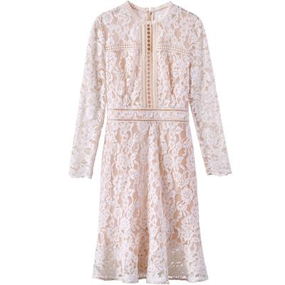 [Giá mới 149 nhân dân tệ] đứng cổ áo ren ren rỗng đầm dài tay áo eo đầm váy khí Sản phẩm HOT