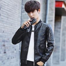 秋季男士薄款皮衣时尚修身韩版修身潮流Pu皮夹克休闲装外套男