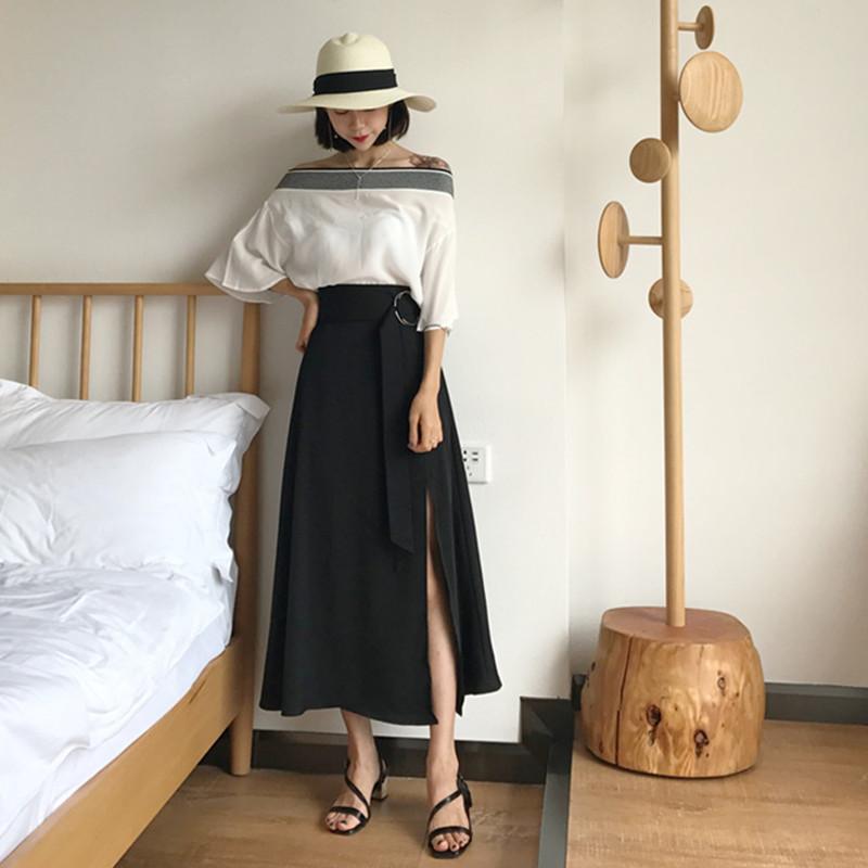 Mùa xuân và mùa hè mới của Hàn Quốc phong cách chic tay áo voan một vai áo + cao eo màu rắn chia váy của phụ nữ phù hợp với