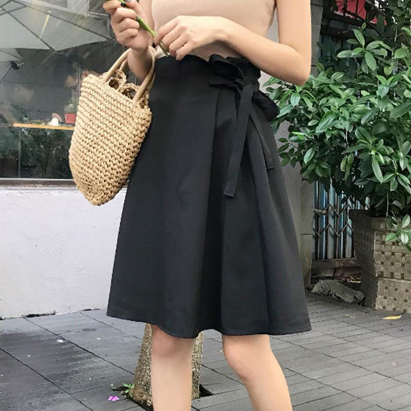 2018 mùa xuân mới của Hàn Quốc phiên bản của đơn giản hoang dã cung màu váy rắn eo cao là một từ mỏng trong váy nữ triều