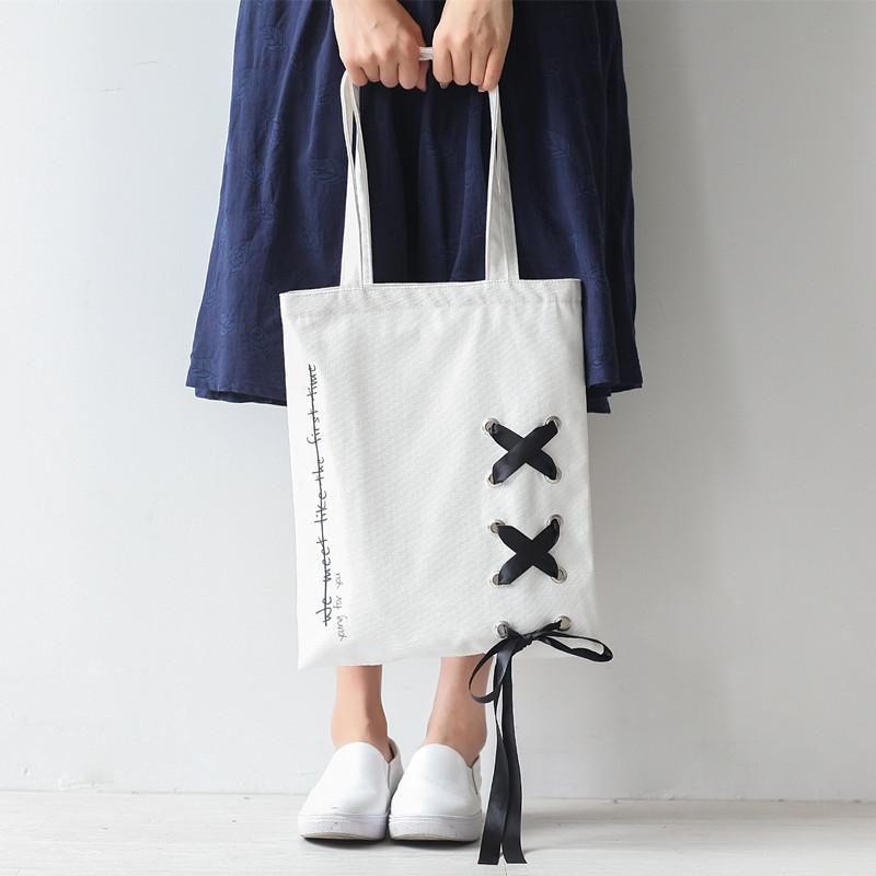 新款丝带ins帆布包简约百搭单肩包女文艺布包袋时尚学生韩国chic