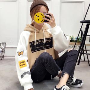 740#实拍长袖t恤女秋冬装2017新款韩版学生连帽宽松大码外套时尚