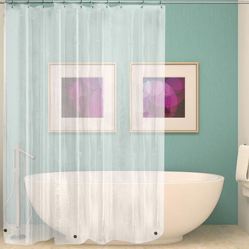 衛生間浴簾北歐免打孔可伸縮加厚防水透明隔斷簾子套裝浴室防水布