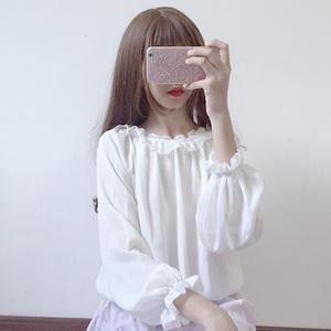 2018 mùa xuân mới Hàn Quốc phiên bản của lỏng hoang dã ren đèn lồng tay áo sơ mi dài tay voan áo sơ mi mùa hè phụ nữ sinh viên