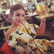 Yang Yufan [styleyoung] Mùa hè mới phần dài chanh in mỏng thời trang đầm đầm