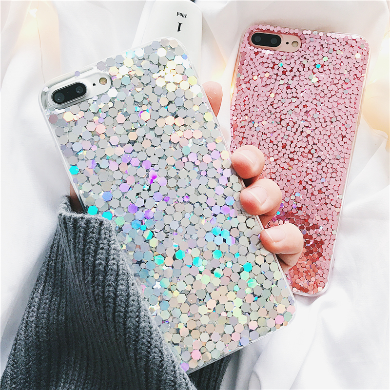 buy online dfc66 1a329 Details about Stylish Pink Girly Bling Glitter Soft Phone Case For Apple  iPhone X 6s 7 8 Plus