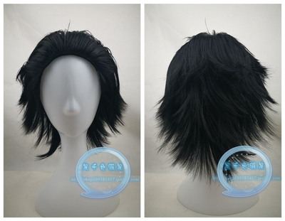 taobao agent Black back short hair COS wig Reverse curling wig Anime cosplay wig